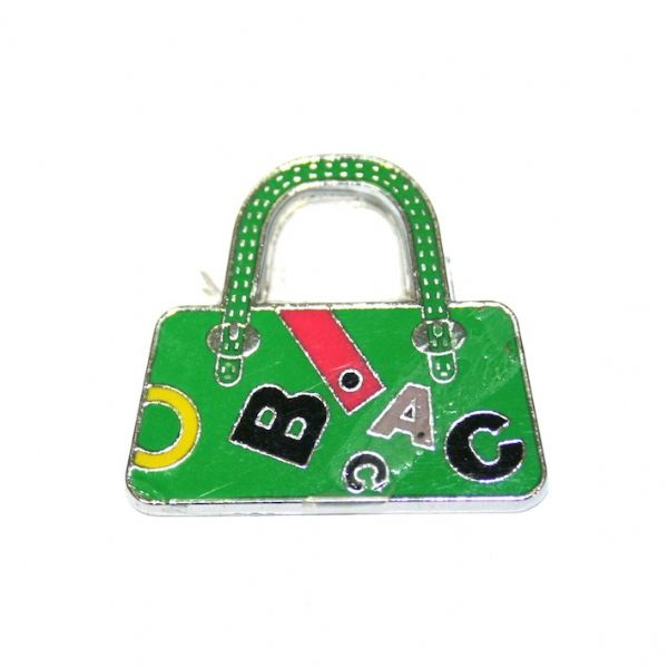 1pce x 24*22mm Rhodium plated green handbag with letters enamel charm - SD03 - CHE1120